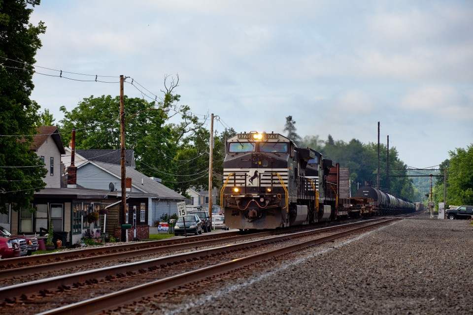 NS 9776 C40-9W leading NS 37A north on the Port Road Branch at Goldsboro