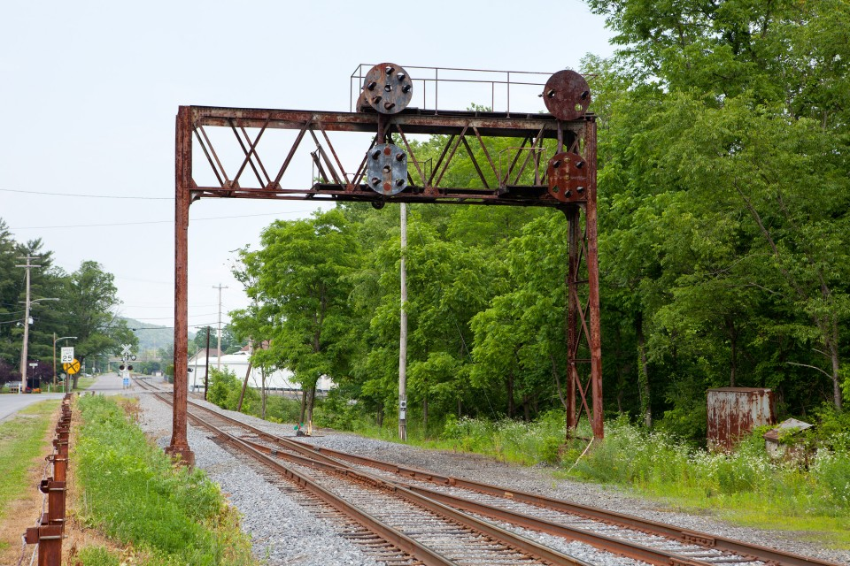 Disused PRR signal bridge at Milesburg, NBER Bald Eagle Branch