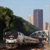 Amtrak Heritage engine 145 P42DC leads Amtrak 42/NS 04T at CP-BLOOM in Pittsburgh, PA with an on-time departure at 7:30AM