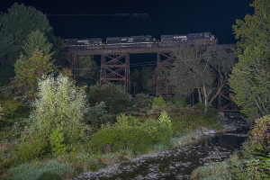 Norfolk Southern's official photo of the first train over the newly-acquired D&H territory. NS I2K early in the morning on September 19, 2015. Casey Thomason photo.