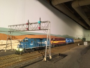 A trio of my locomotives pose for a photo on Dave Abeles' Onondaga Cutoff at CP-280.