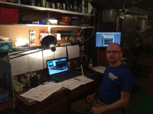 "Yours truly, with my ""dispatcher's desk"" set up."
