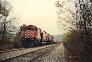 Peter McGilligan took me up to Binghamton one fall day in 1991 in a quest for Canadian Pacific's MLW locomotives, based on Alco designs from the 1960's. Southbound CP train 554 was stopped at Nineveh, N.Y. behind CP 4729 and CP 4719, both M636's.
