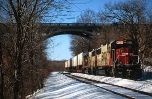 Soo Line 6028 SD60 on D&H 266 tied down at Addams Island, Allentown, Penn.
