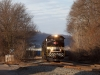 NS 538 (Shire Oaks-PPL York Haven) coal train passes the American Beverage Corp. lead on the Conemaugh Line in Blawnox, Penna. behind NS 1065, the Savannah & Atlanta heritage locomotive.