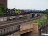 NS 65R empty crude oil train with Penn Central heritage engine NS 1073 leading Illinois Terminal heritage engine NS 1072, both SD70ACe