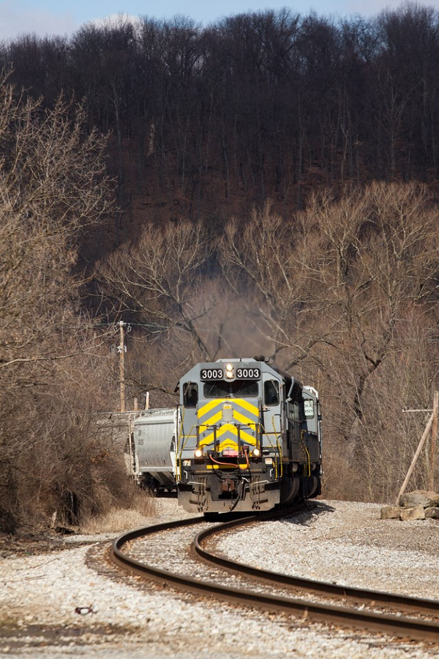 AVR Sand Train at Evans City, Pa. on the B&P RR. Feb 26, 2012