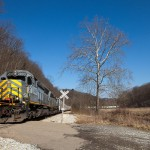 AVR 3003 SD40-2 leading 60-car empty unit sand train from Evans City to Island Ave. Sample, Pa. Feb 26, 2012