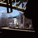 At 1:20pm, CSXT Y102-10 scoots westward (away from the photographer) with GP38-2 #2667 running light. March 10, 2003