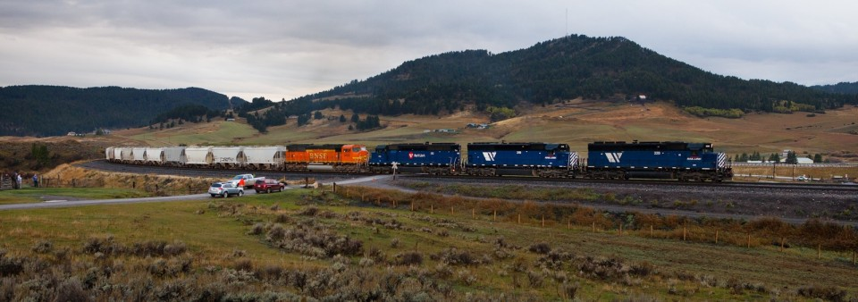 M-SPOLAU1-28A approaches the summit at West End behind three MRL SD45s and a BNSF SD70.