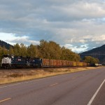 The MRL Night Gas (MRL 821) is really on the move behind two new SD70ACes (MRL 4408-4406) as it follows MT Route 200. Thankfully the sun popped out!