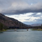 The MRL Night Gas (MRL 821) with MRL 4408-4406 crossing the Flathead River west of Perma, Mont.